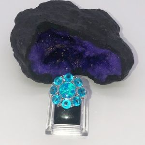 Silver Flower Topaz & Blue Opal 4.50 ct Ring
